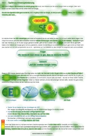 EyeTracking Usability Heatmap für SEO Spezialist